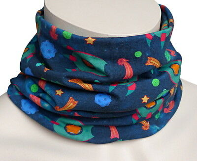 Loop Schal mit Rakete Sterne Komet blau grün gelb rot Junge Kinder Rundschal 942