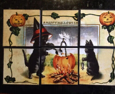 Bethany Lowe Halloween Puzzle Blocks--Black Cats & Witches--Set of 6–Retired