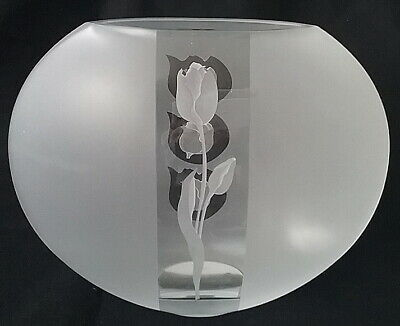 Badash Large Frosted & Clear Round Pocket Cylinder Glass Vase Roses Florals