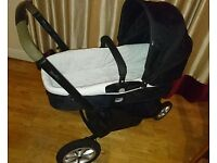 Mothercare xpedior travel system black, with car seat and cosy toes and newborn insert for carrycot
