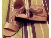 Brand new cream and diamanté sandals size 7