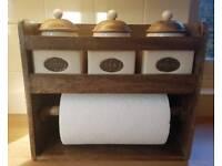 Tea coffie sugar and kitchen roll holder