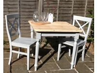 Solid pine small dining table & 2 chairs, dining set, kitchen table & 2 chairs
