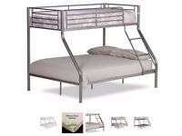Sparingly used Triple Sleeper Bunk Bed with Mattresses (Tesco - HappyBeds)