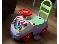 Leap frog sit and ride walker