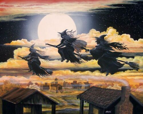 Byrum Folk Art Halloween Witches All Hallow