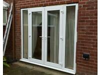 Pvc french doors and separate side panels unglazed