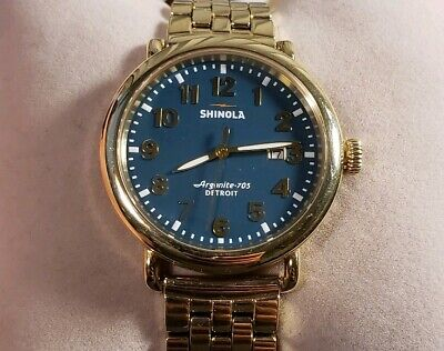 Shinola Runwell Watch with Teal Green & Golden 41mm face