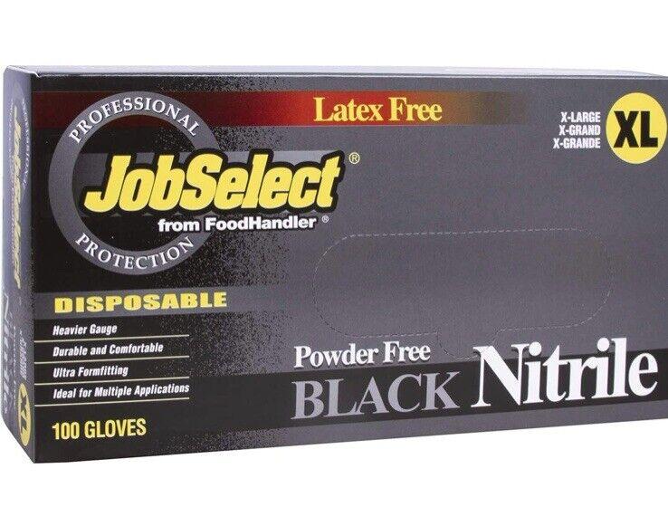 Disposable Nitrile Gloves, Box of 100, Size M Latex Free & Powder Free, Black