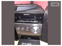 Sony Black CD player - speakers, iPod docking station, remote and radio