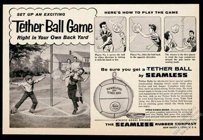 1957 Seamless Tether Ball Tetherball illustrated vintage print ad
