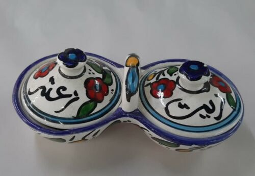 Hebron Ceramic handmade Made In Palestine Holy Land  Ceramic Oil and thyme