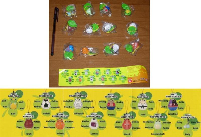 RARE Set 12 Figures FROG STYLE PART 4 Danglers Dangler GASHAPON BANDAI FROGS New