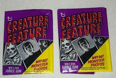 1973 Topps Creature Feature Trading Cards Wax Packs Lot Of 2 Packs