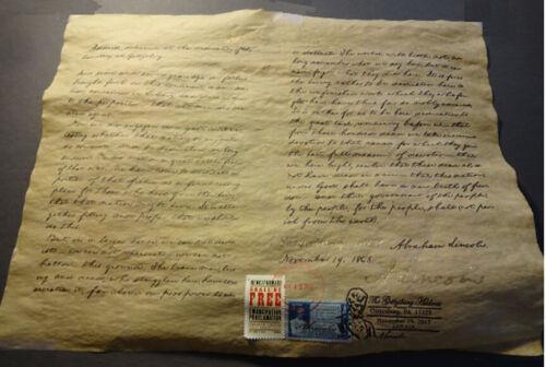 Abraham Lincoln Gettysburg Address on parchment