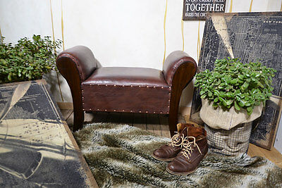 CHAISE LOUNGE SEATER CHAIR BENCH OTTOMAN POUFFE STOOL BROWN TEAK COLONIAL
