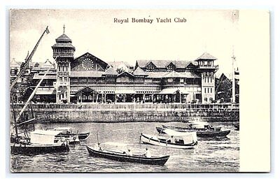 Vintage Postcard Royal Yacht Club Bombay Mumbai India B8