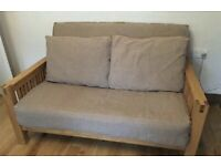 Fantastic 2 seater solid oak sofa bed by Futon Company,great condition