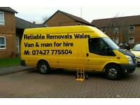 Reliable Removals Wales Van & Man for hire, house moves 2 single items, Jumbo van house clearance *