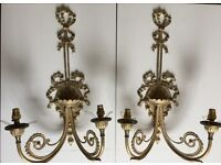 Pair Of Twin-Branch Antique Brass Wall Lights