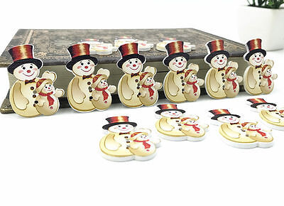 Christmas snowman Wooden Buttons Fit decoration Kid's Christmas crafts 35mm - Wooden Snowman Crafts