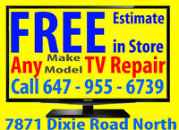 Video, TV repair To all makes and models, FREE ESTIMATE