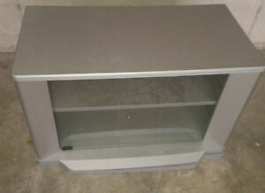 Silver swivel TV with glass door, good, sturdy condition