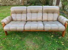 Original Vintage Ekornes Leather Teak 3pc Sofa Set Retro Mid Century
