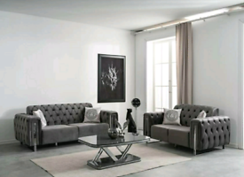 Grey Velvet 3&2 Seater sofa set New free local delivery
