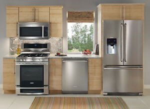 KITCHEN PACKAGE STAINLESS STEEL FRIDGE STOVE DISH FREE DELIVERY