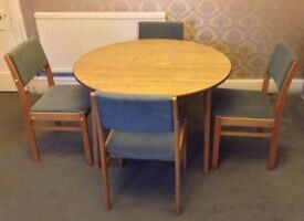 Vintage Dinette Circular Dropleaf Dining Table with 4 Chairs