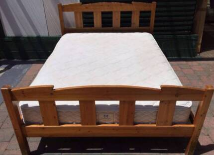 Excellent wooden queen bed frame with Sealy Brand mattress