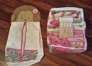 NEW/UNUSED 4-piece crib bumper set + matching diaper stacker