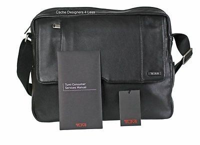 New Tumi Top Zip Flap Crossbody/Shoulder  Leather Messenger Bag Black 60102D