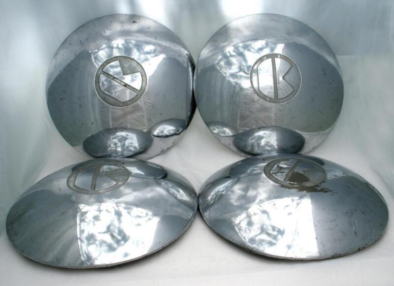 "Vintage 4 KAISER 10"" Embossed Dog Dish Metal Hubcaps"