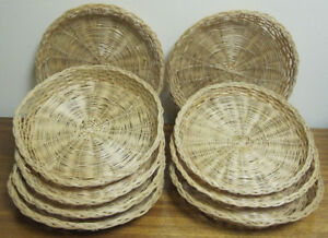 Nine Vintage Wicker Paper Plate Holders