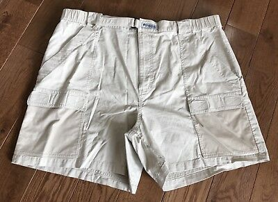 Men s Columbia PFG Fishing Gear Shorts Tan Khaki Mesh Pockets XL d0b5527cc378
