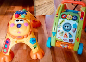 2 Baby walkers and  one stand activity arch lion