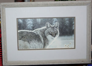 RANDY FEHR FRAMED PRINT OF GREY WOLF
