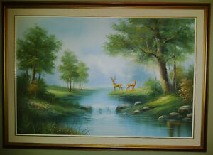 Signed painting by Melton of Deer & Stream