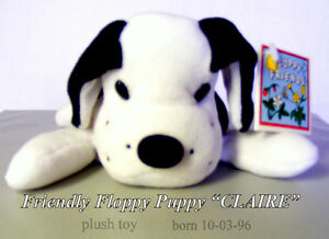 """Floppy Friend plush toy, puppy dog,""""Claire"""" white with black new"""
