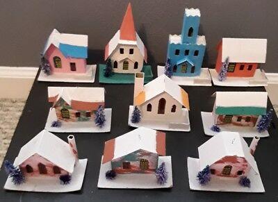 10 Vintage Putz Christmas Houses & Church Cardboard Glitter ~ Japan