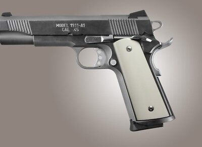 Hogue 1911 Government Smooth Ivory Polymer S A   Techwell Mag Well  Ambi  Cut