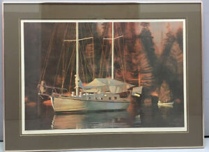 """Large Limited Edition Print """"Anchored Sailboat"""" Signed in pencil"""