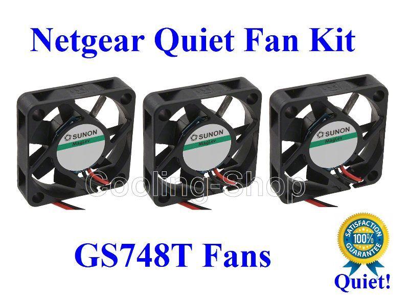 3x Quiet Replacement fans for Netgear GS748T Low Noise fans