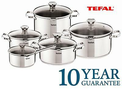 New TEFAL DUETTO Stainless STEEL Kitchen COOKWARE SET 10 PCS Glass Lid POTS Best