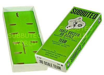 NEW REPRODUCTION SUBBUTEO TABLE FOOTBALL TEAM BOXES. MID 70's DESIGN BOX.