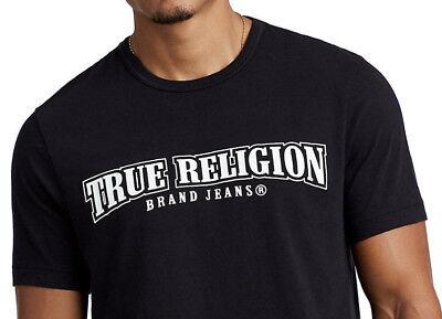 (True Religion Men's Classic Arch Logo Tee T-Shirt in Black)