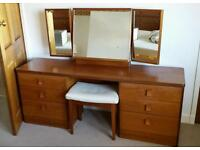 Stag Teak Retro Vintage 60s 70s Danish large dressing table chest of drawers desk ottoman chairs