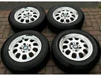 "BMW 3 SERIES 15"" ALLOY WHEELS WITH SNOW WINTER TYRES 1 3 5 SERIES"